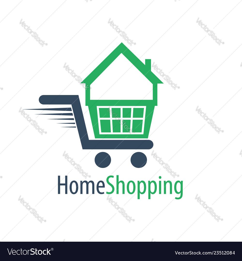 Home shopping cart logo concept design symbol