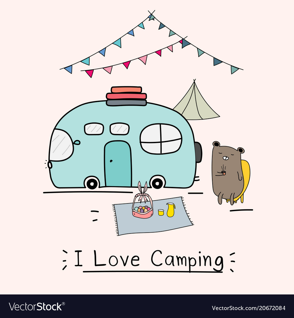 I love camping concept with cute bear and camping