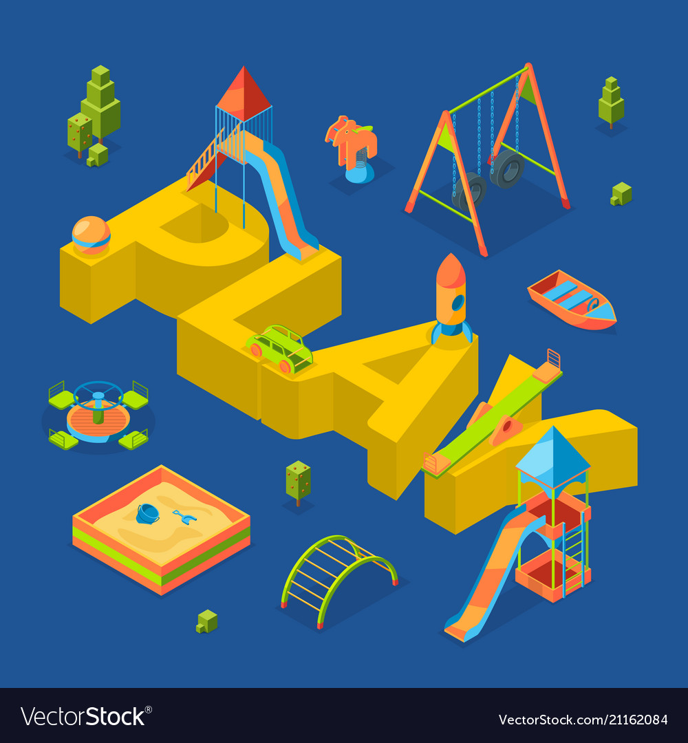 Isometric playground objects around word vector