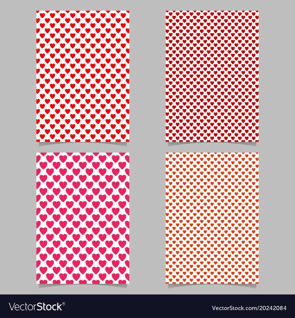 Repeating heart pattern brochure template set vector image
