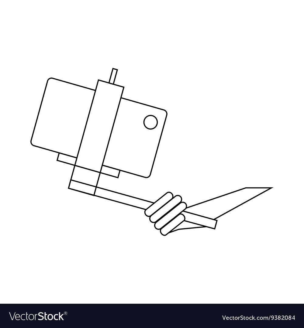 Selfie stick in hand icon outline style