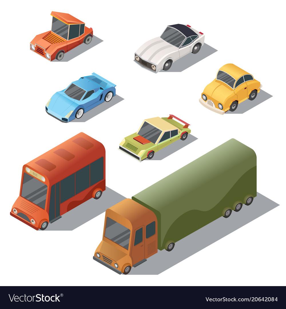 Set of isometric urban transportation cars