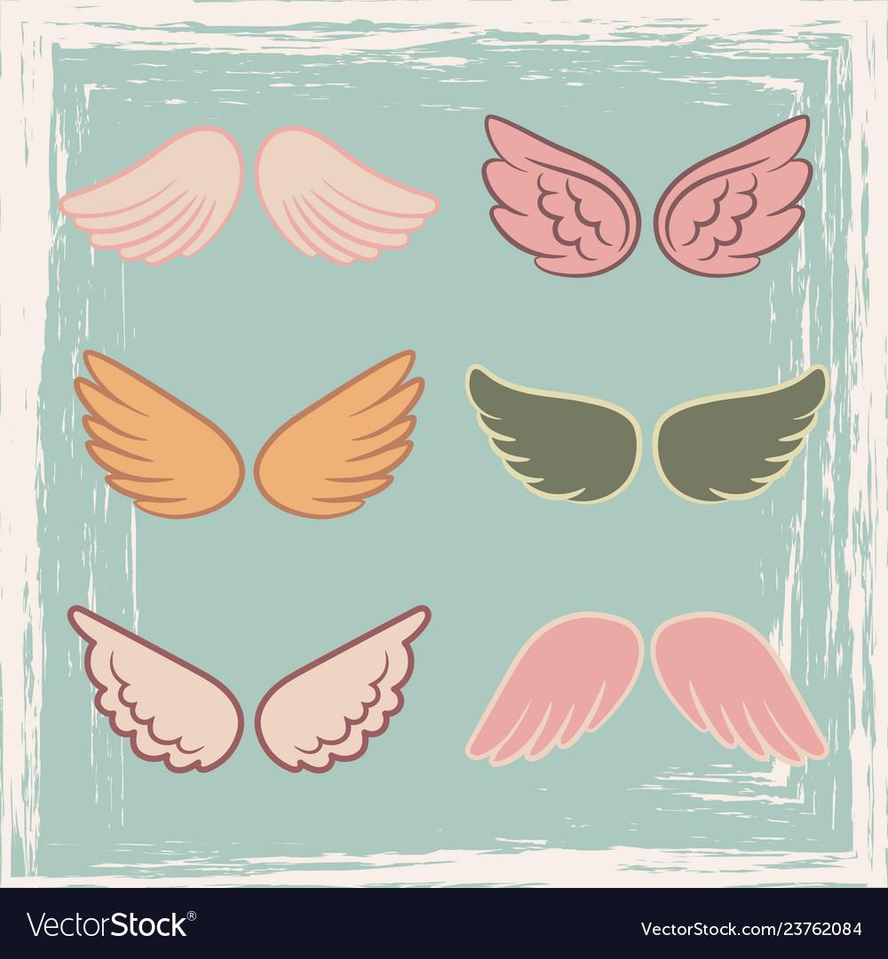 Vintage style angels wings set