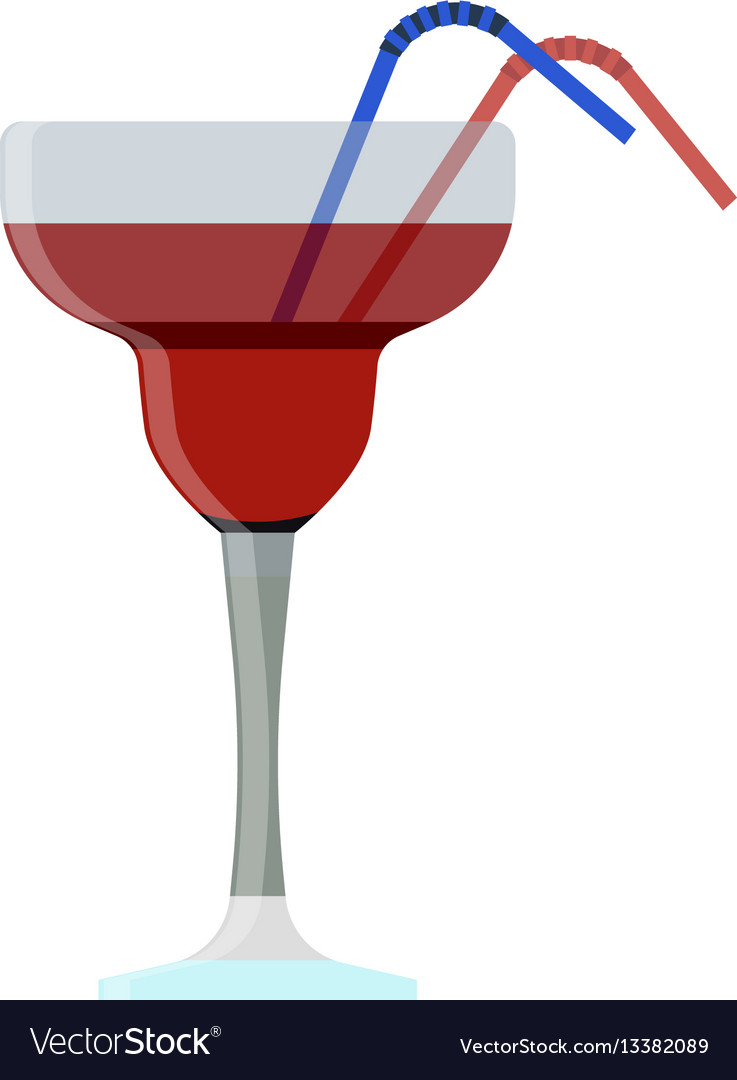 Alcoholic cocktails with drinking straw isolated vector image