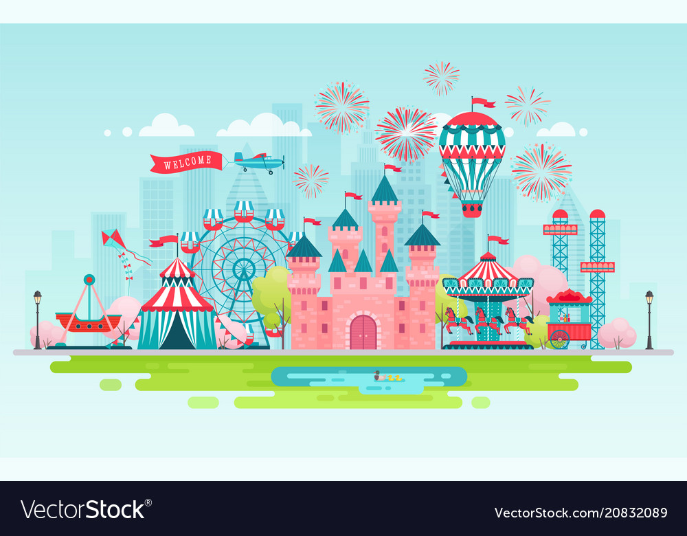 Amusement park landscape banner vector image