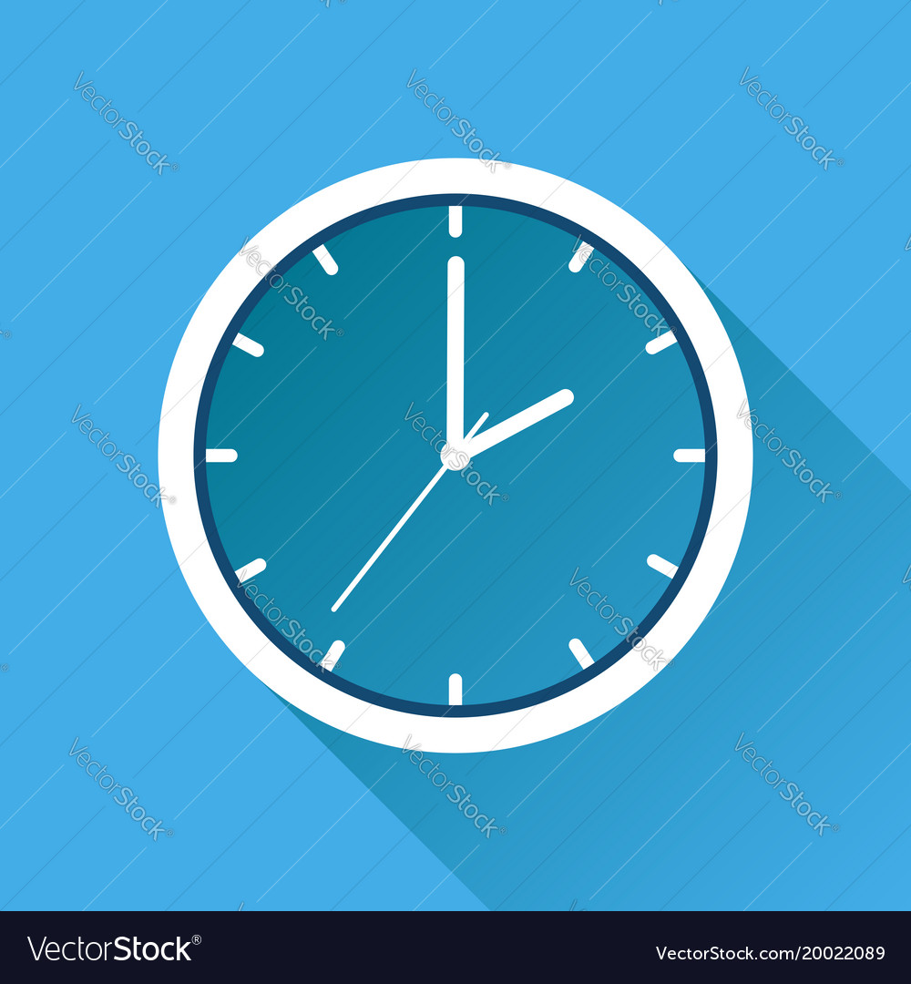 Clock icon flat design with long shadow on blue