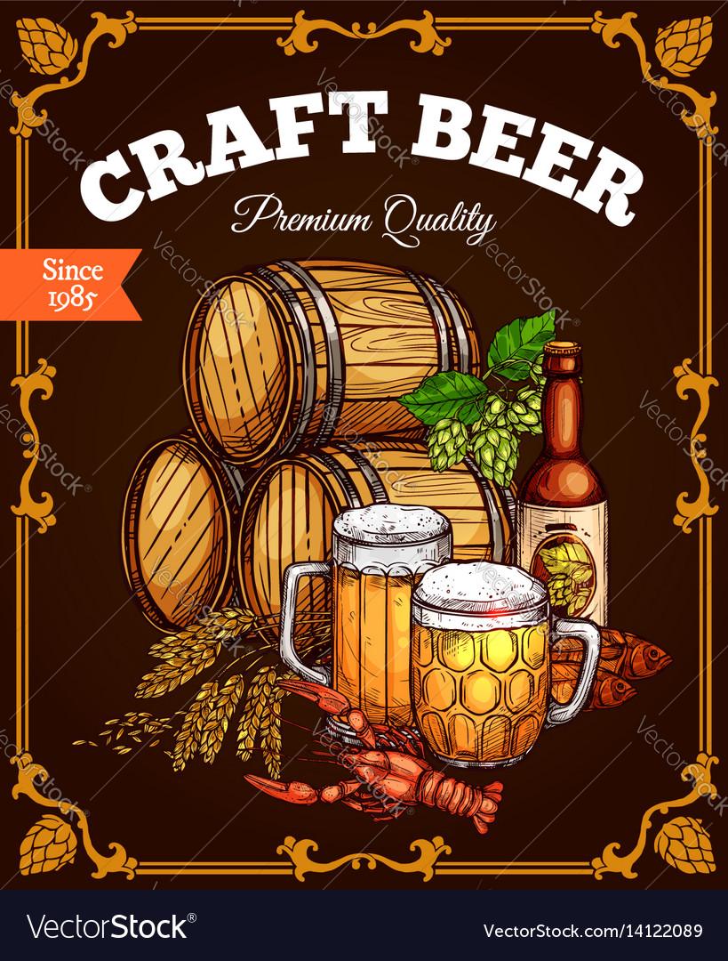 Craft beer pub bar retro poster