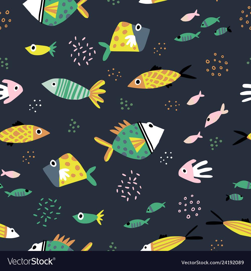 Cute fish flat hand drawn seamless pattern