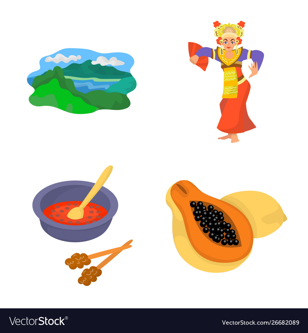 Design bali and indonesia icon set of