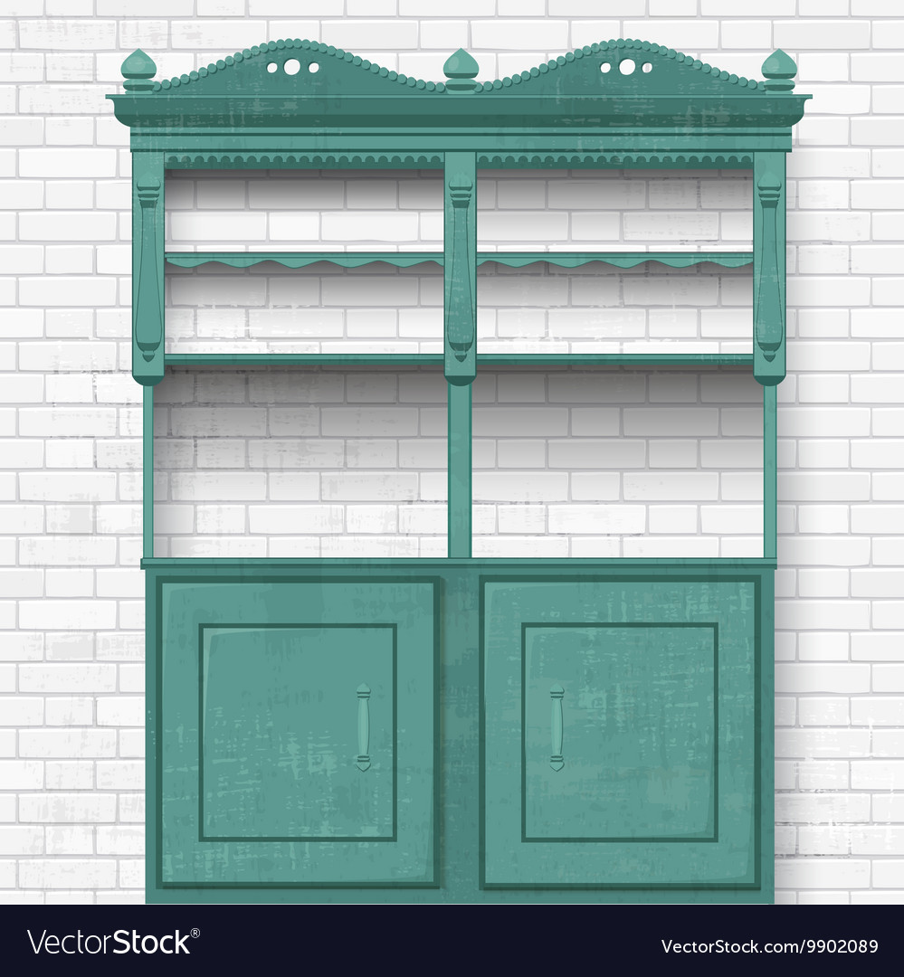 Empty vintage cupboard for your design vector image