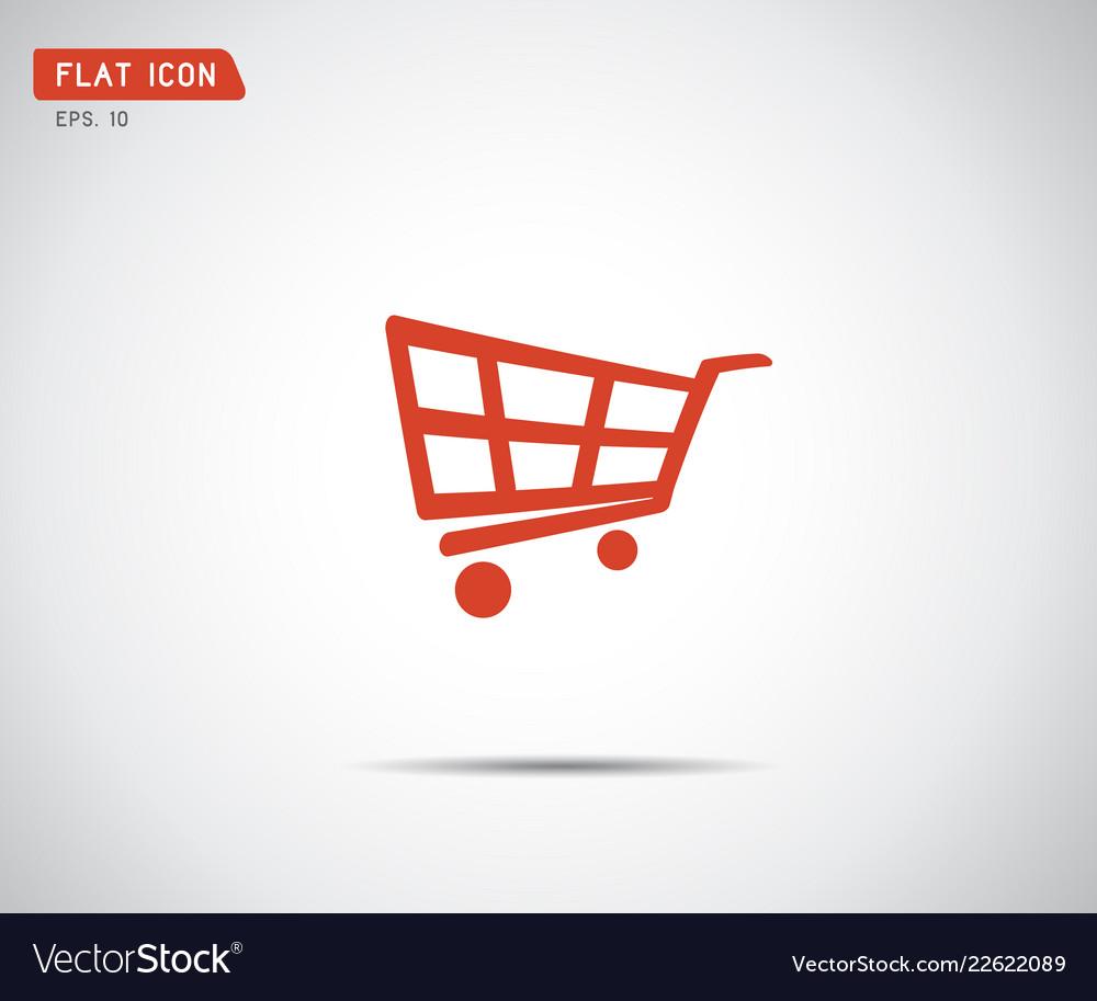 Flat shopping cart icon logo design