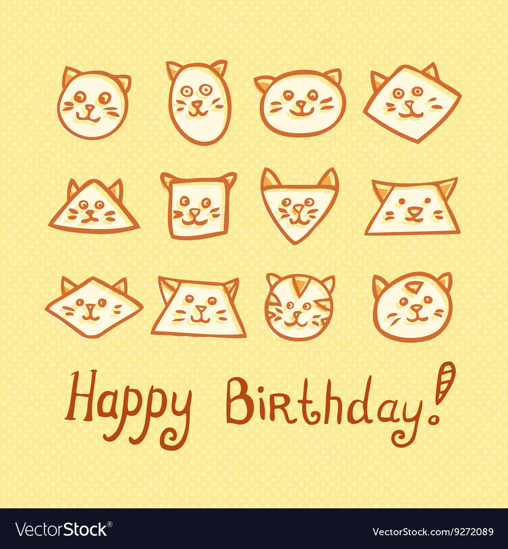 Happy Birthday Card with funny cat muzzles on