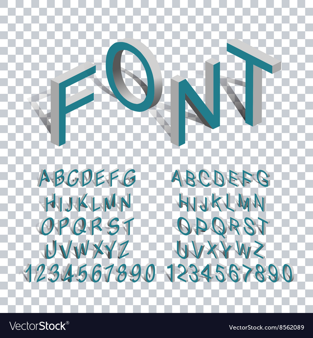 Isometric letters 3d transparency