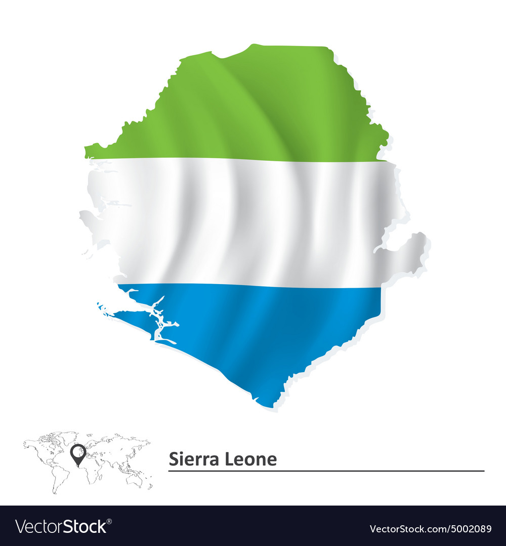 Map of Sierra Leone with flag Royalty Free Vector Image