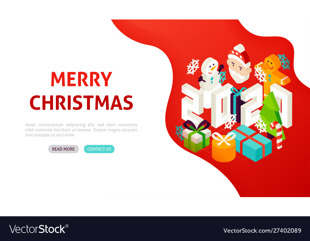 Christmas 2020 Banner Merry christmas 2020 banner concept Royalty Free Vector