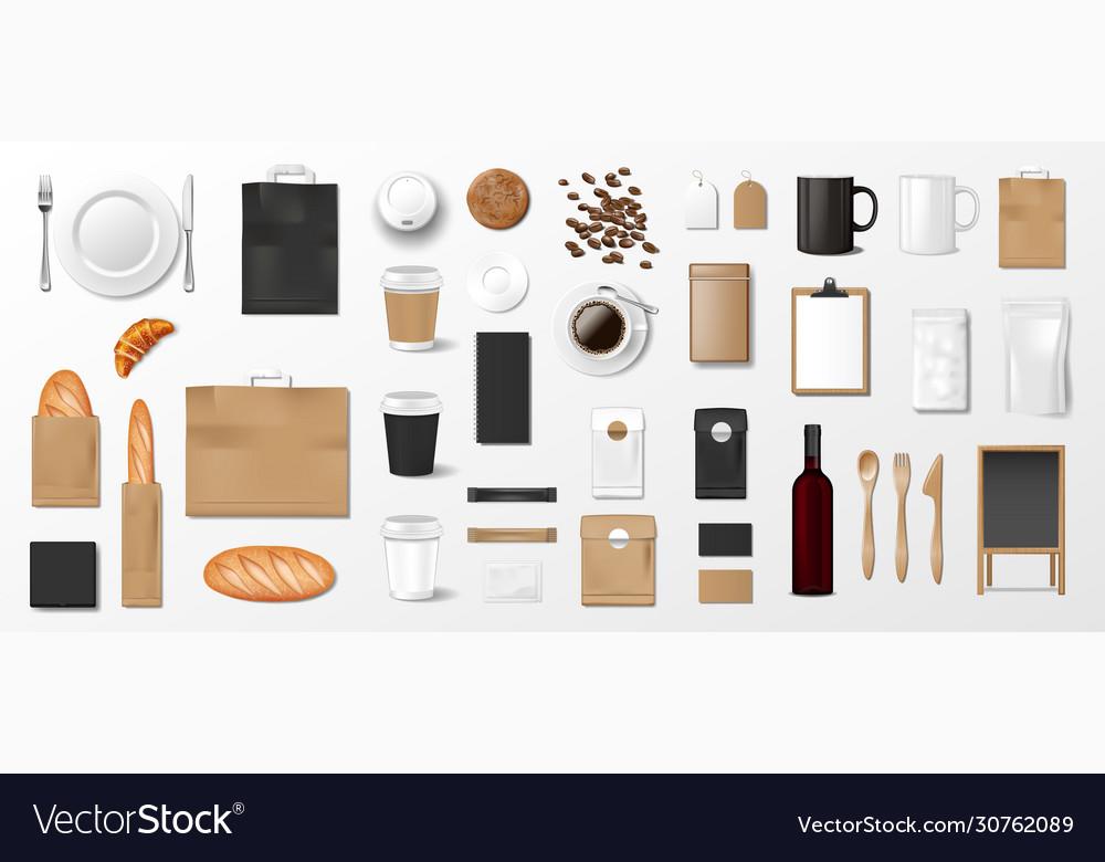 Mockup set for bakery shop cafe or restaurant