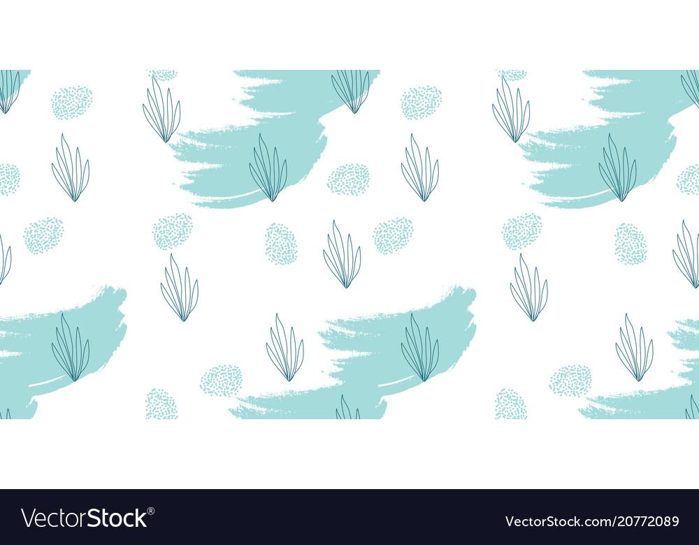 Seafood hand drawn seamless pattern