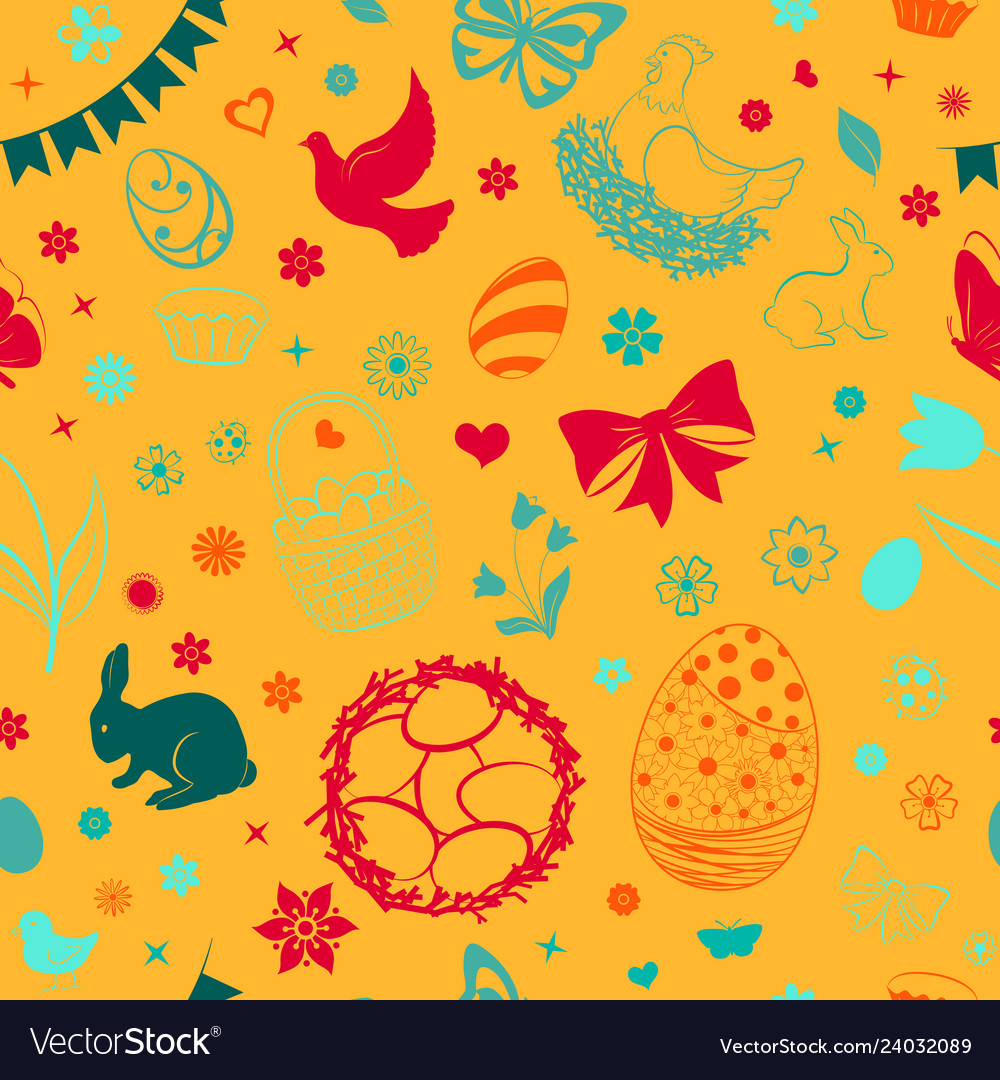 Seamless pattern of easter symbols