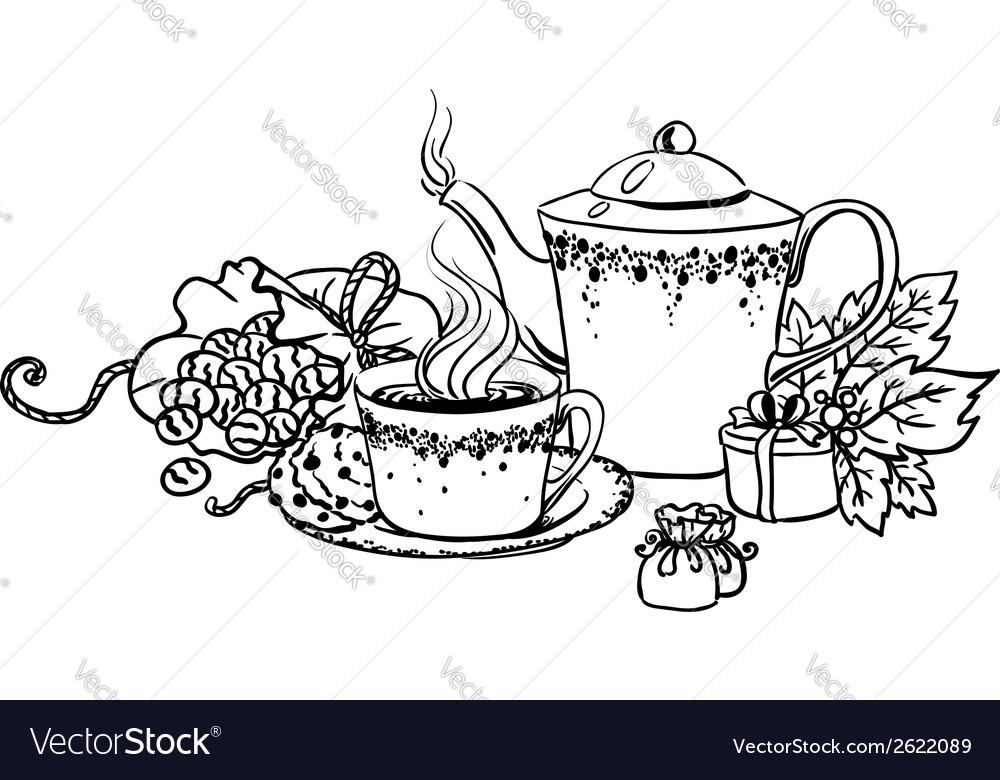 Set of tea cup in vintage style stylized vector image