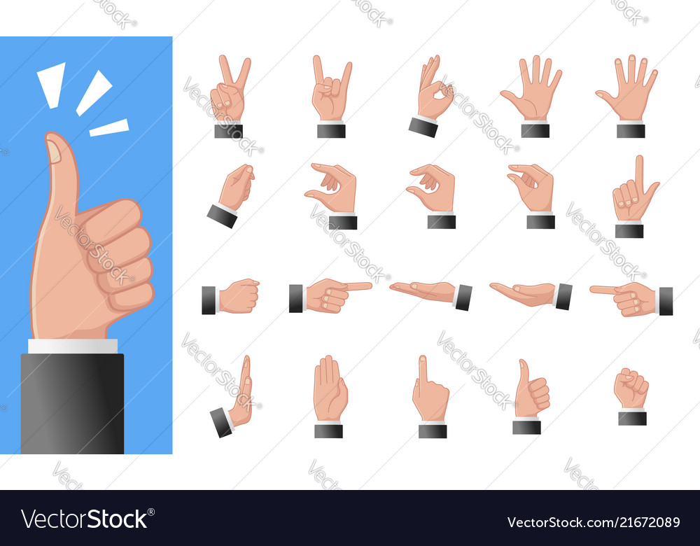 Various gestures of human hands isolated on a