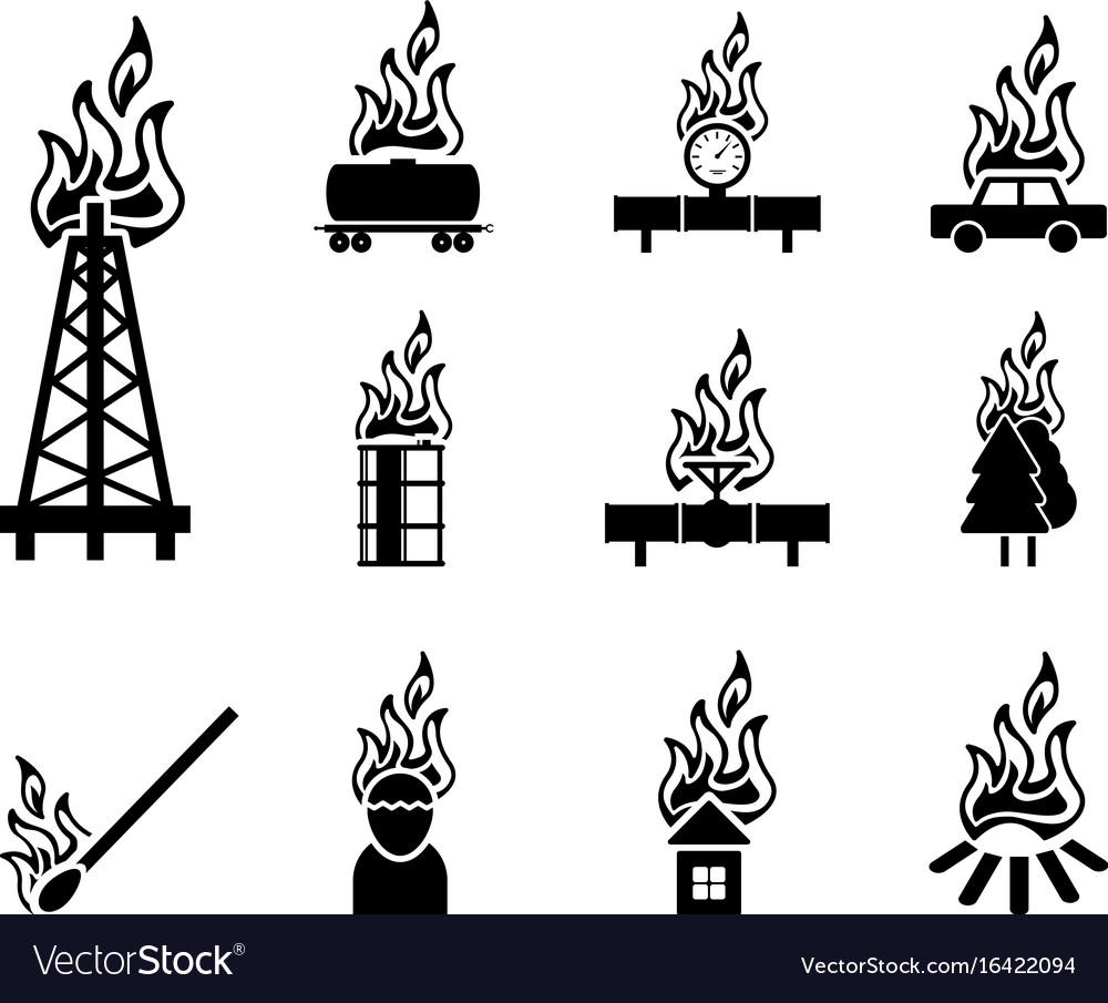 Black fire icon vector image