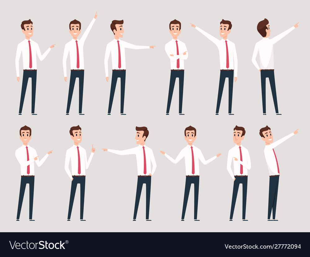 Businessman pointing managers male workers
