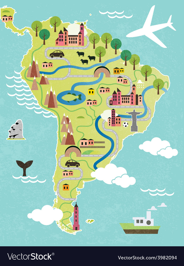 Cartoon Map Of South America Royalty Free Vector Image