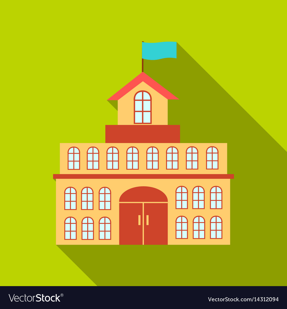 Government icon flate single building icon from vector image