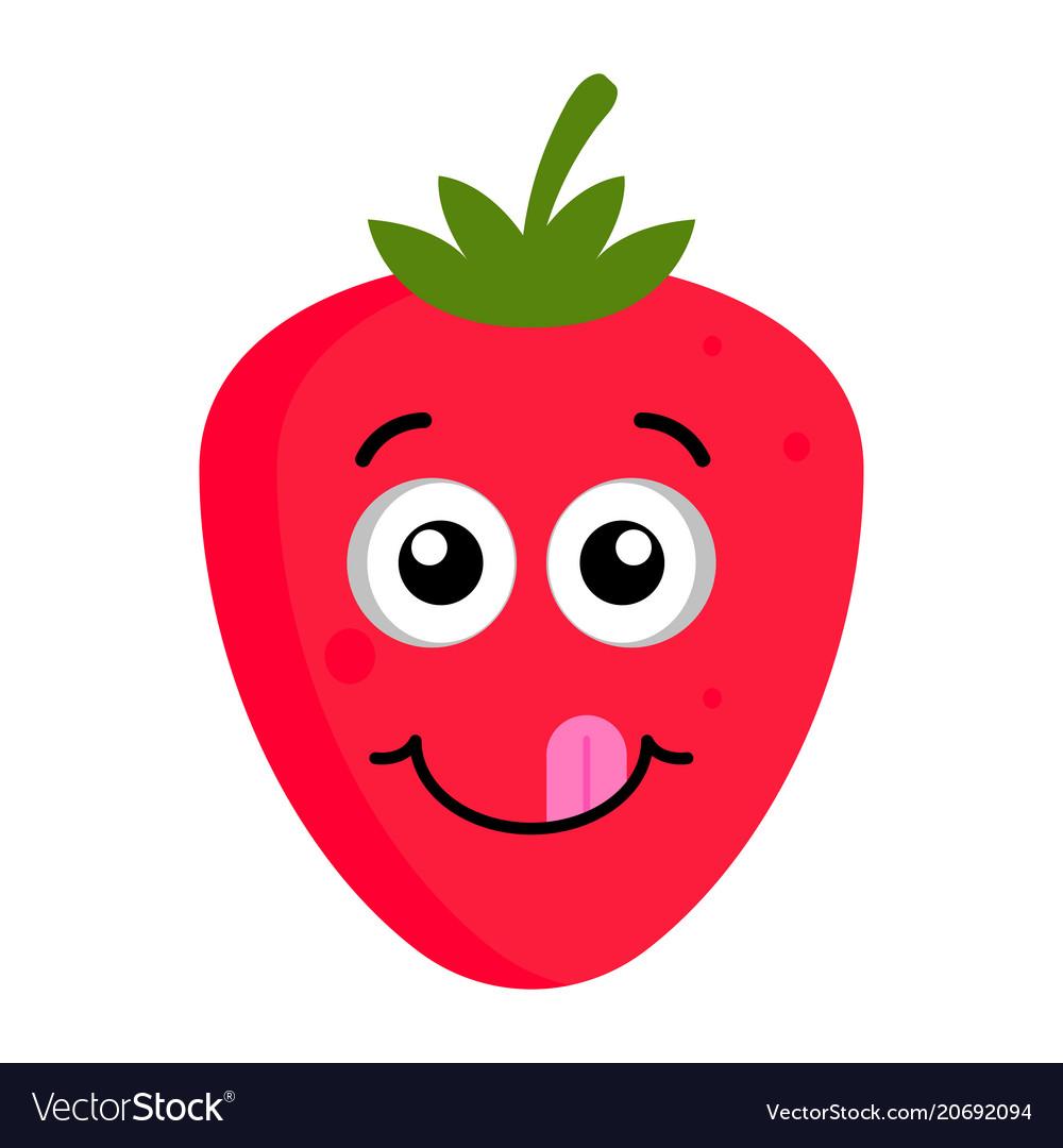Happy strawberry emoticon