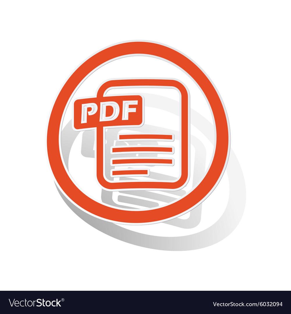 pdf document sign sticker orange royalty free vector image
