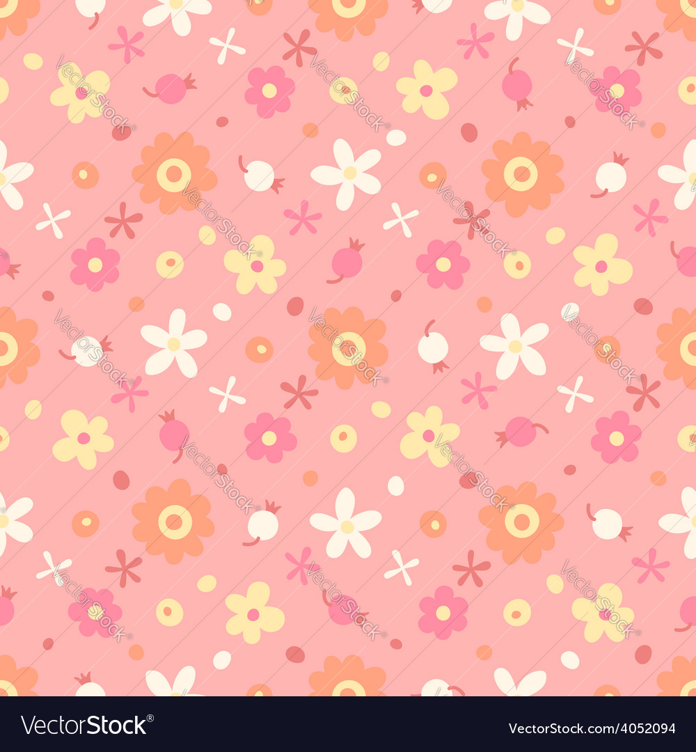 Seamless pattern with small flowers and berries