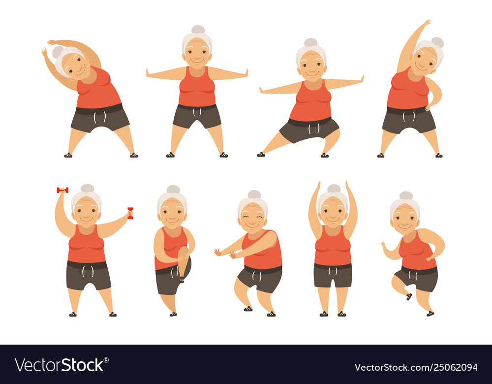 Senior woman doing morning exercises active and