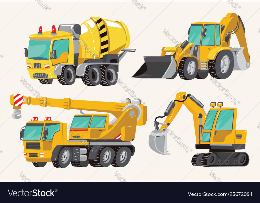 Set of toy construction equipment in yellow