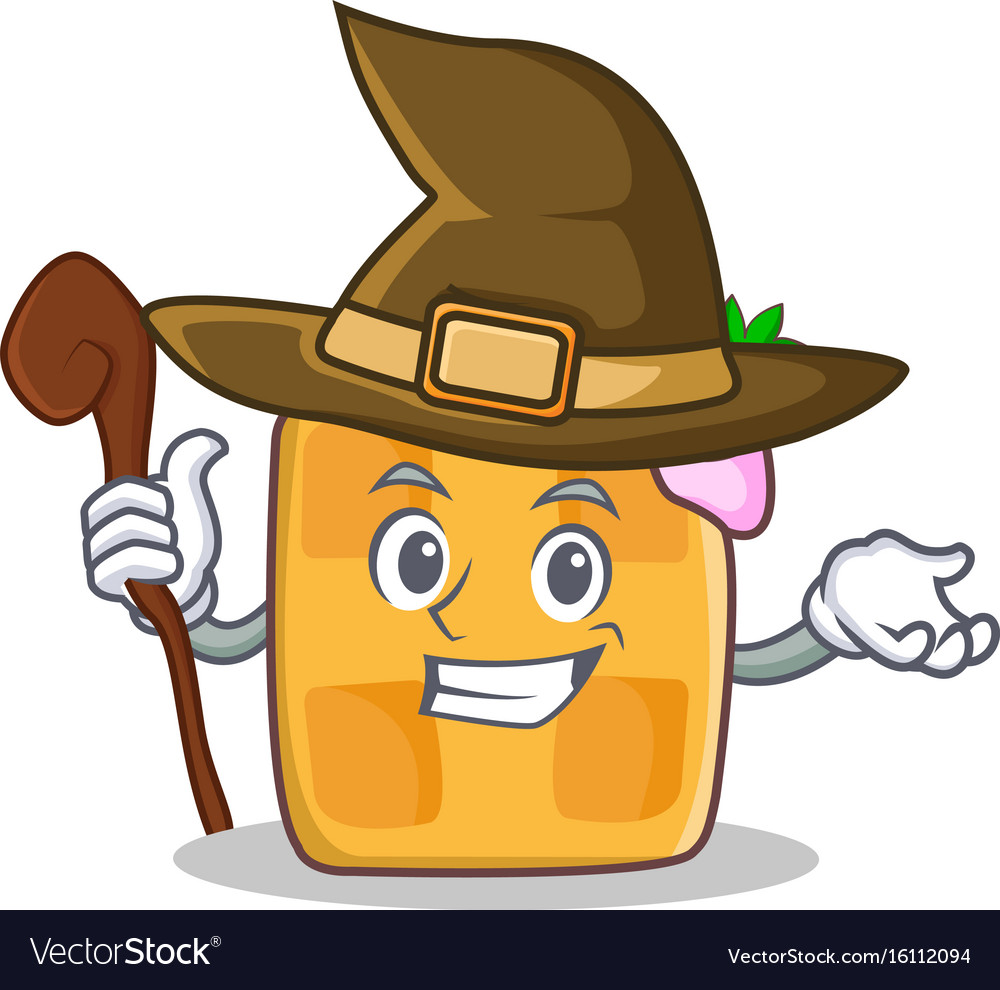 Witch waffle character cartoon design vector image