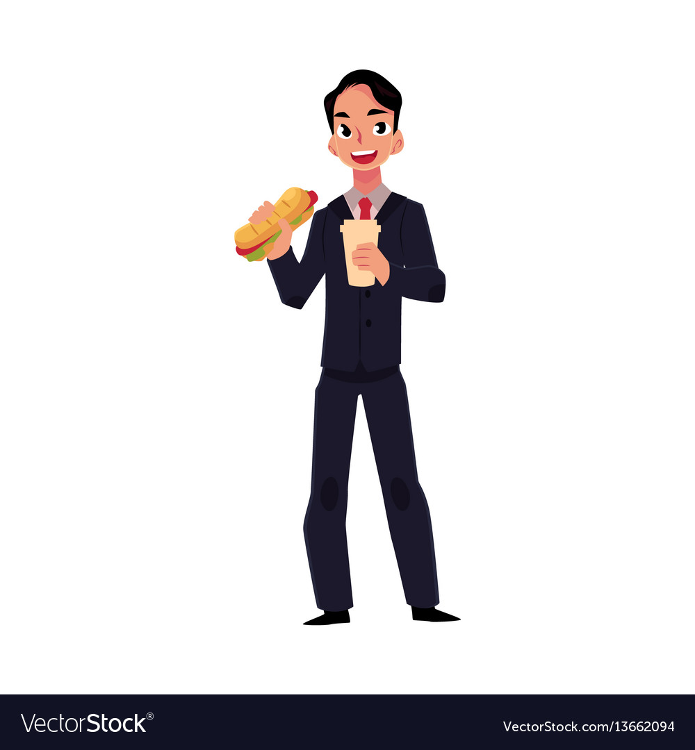 Young businessman in business suit eating sandwich vector image
