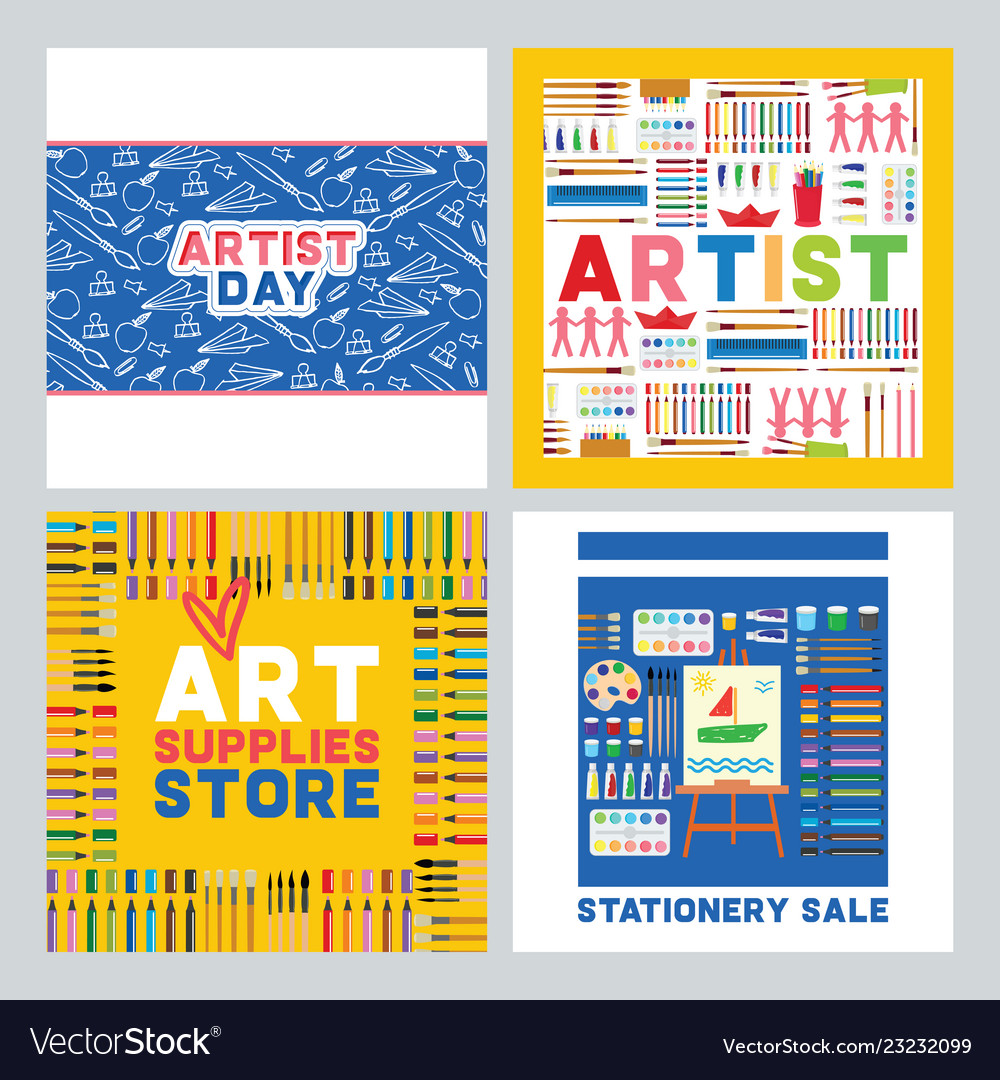 Art supplies studying in art-school with