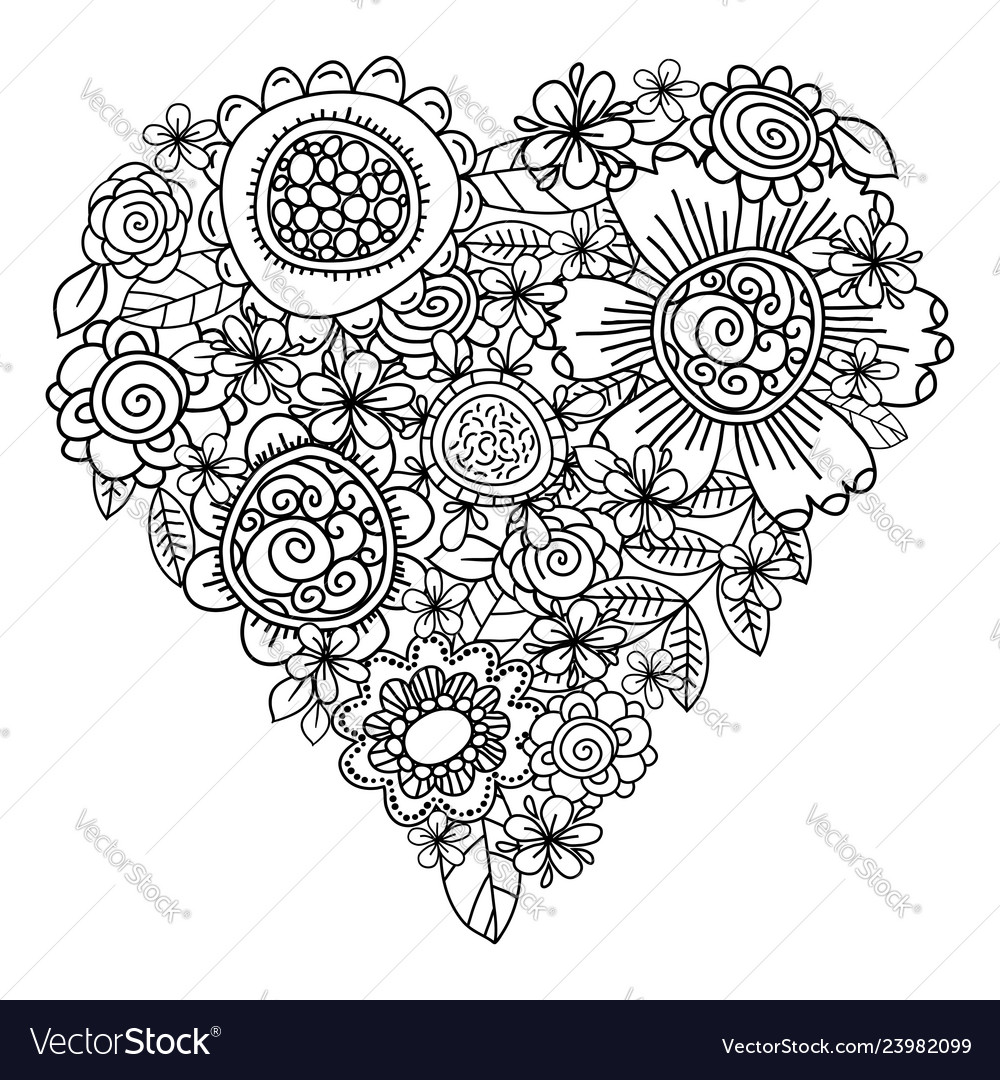 Big heart of spring flowers for coloring book
