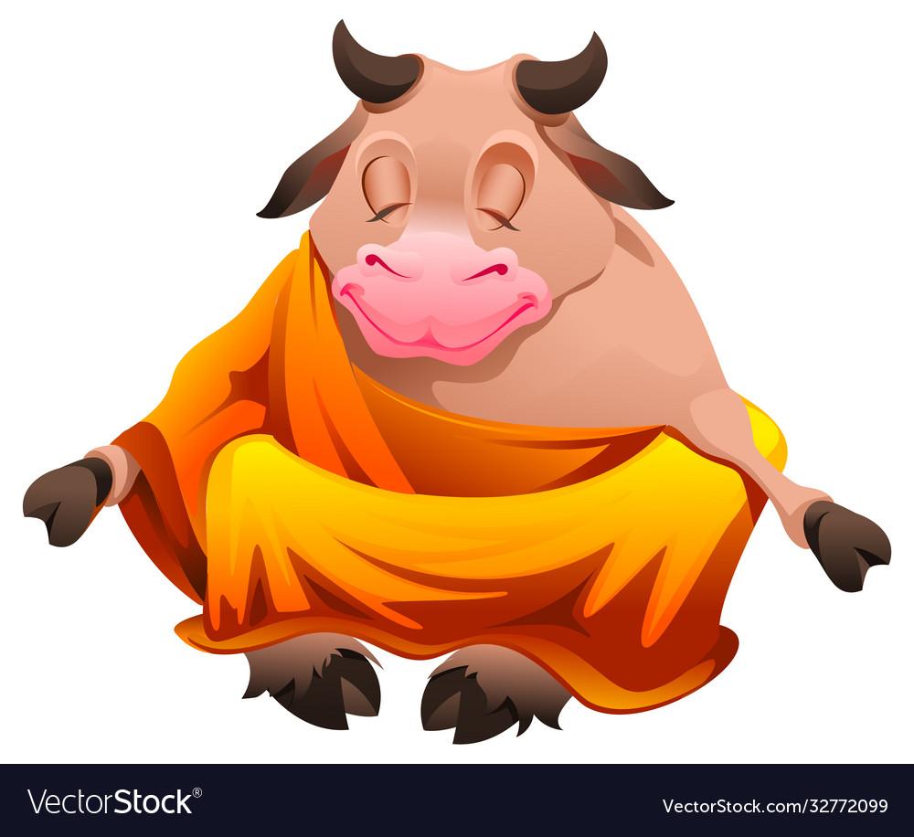 Bull buddha sitting in lotus position