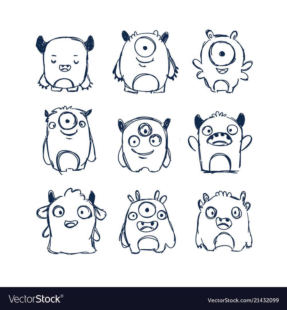 Cute monsters doodles