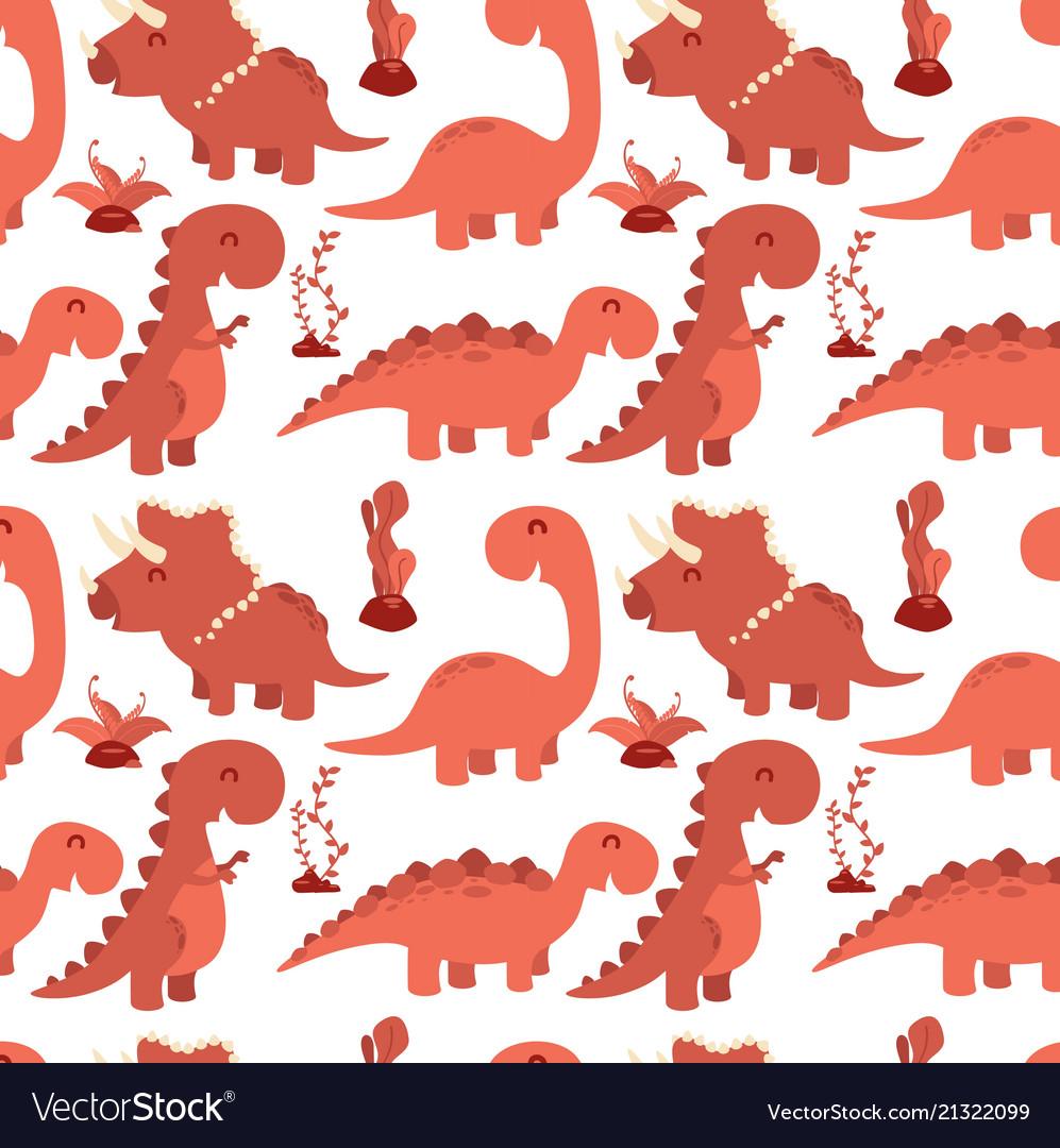 Cute seamless pattern with cartoon dinosaurs