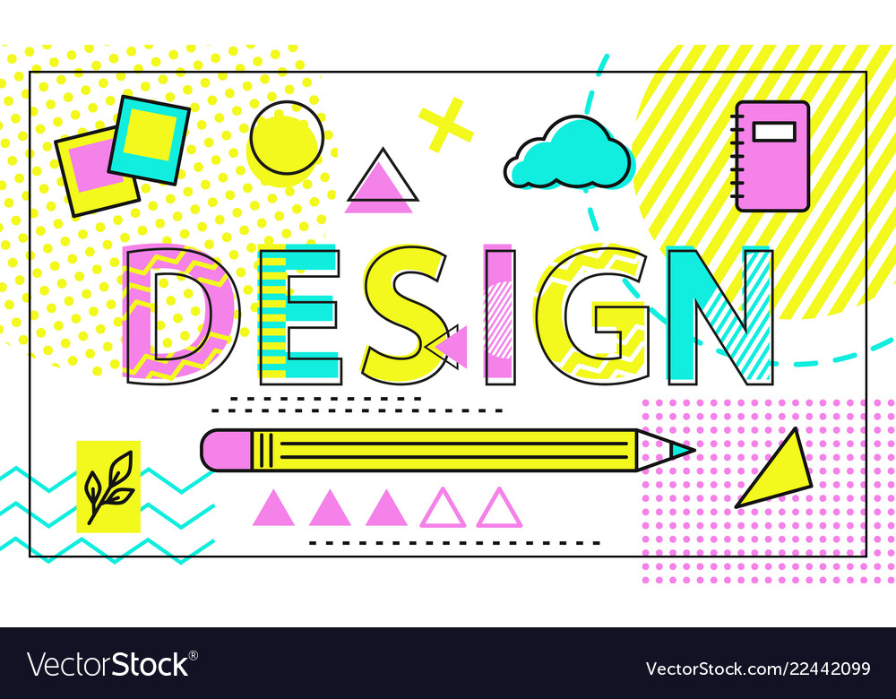 Design colorful poster with geometric figures