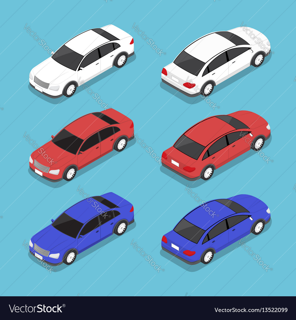 Flat 3d isometric car