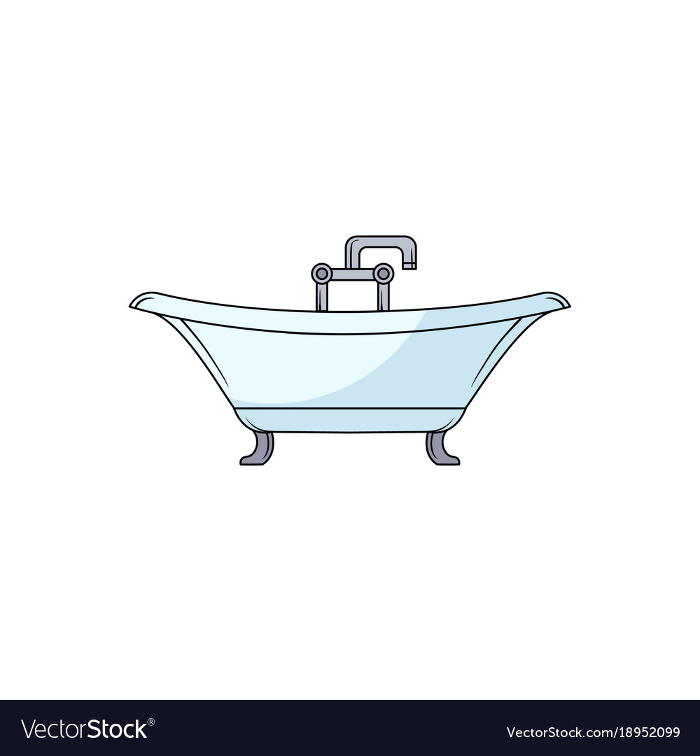 Hand drawn clawfoot bathtub with faucet and douche