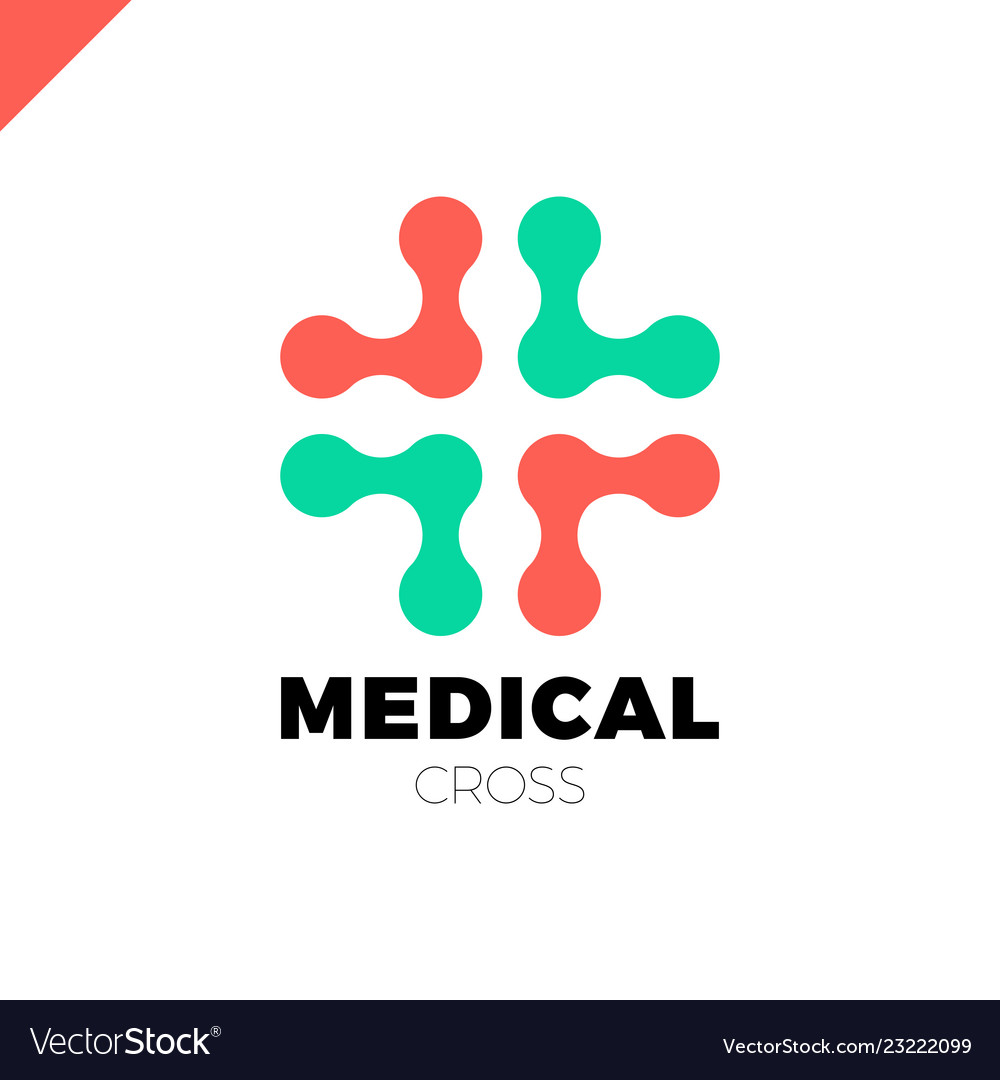 Medical logo with cross icon abstract doctor tech