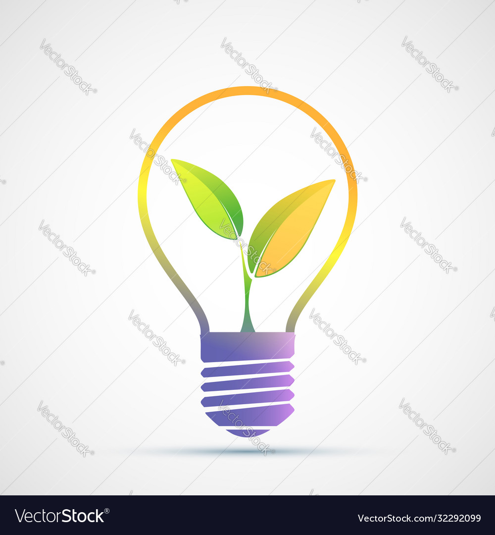 Plant grows inside a light bulb eco green concept