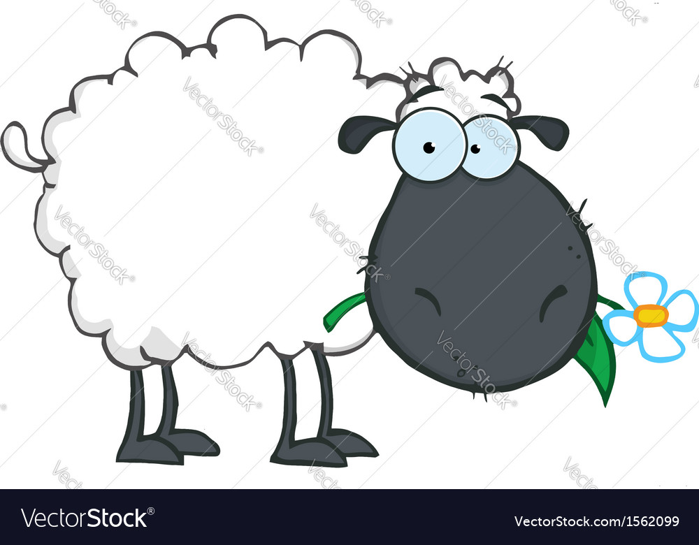 Royalty Free RF Clipart White Sheep Cartoon Vector Image