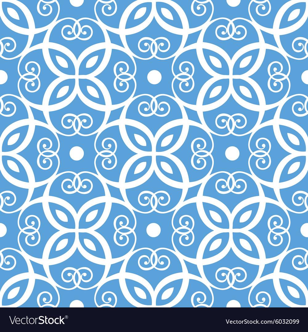 Seamless blue and white damask pattern