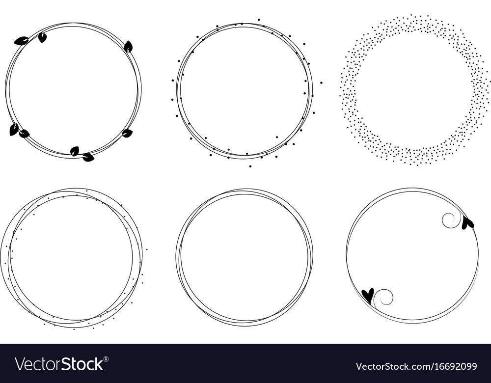 Set of graphic circle frames wreaths for Vector Image