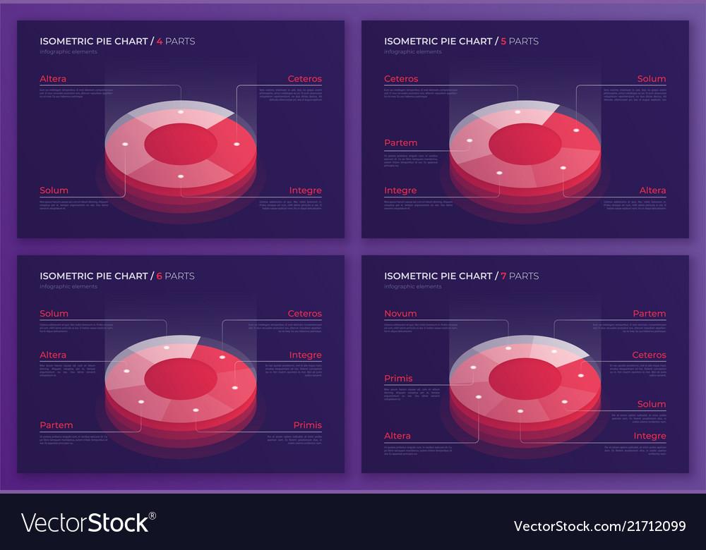 Set of isometric pie chart designs modern