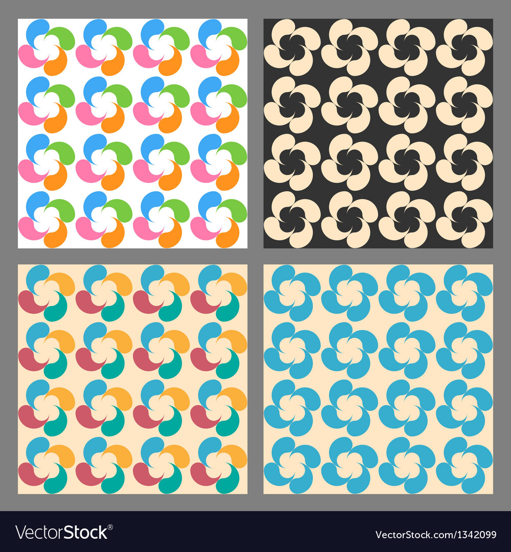 Set of seamless patterns flowers made of drops